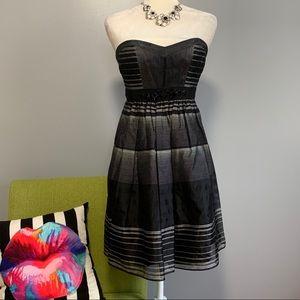 BCBGMaxazria Striped Strapless Mini Dress NWT